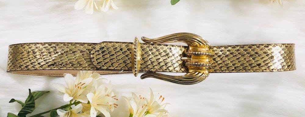 Donna Katz Genuine Snake Skin Gold Belt