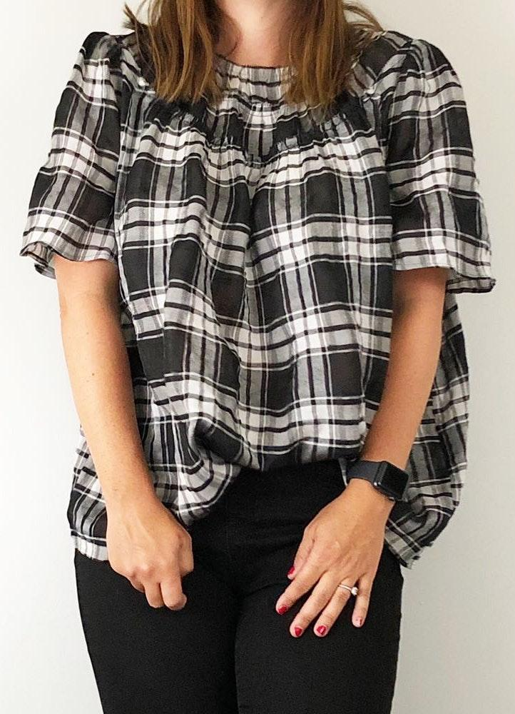 Ann Taylor Large Black And White Plaid Boise