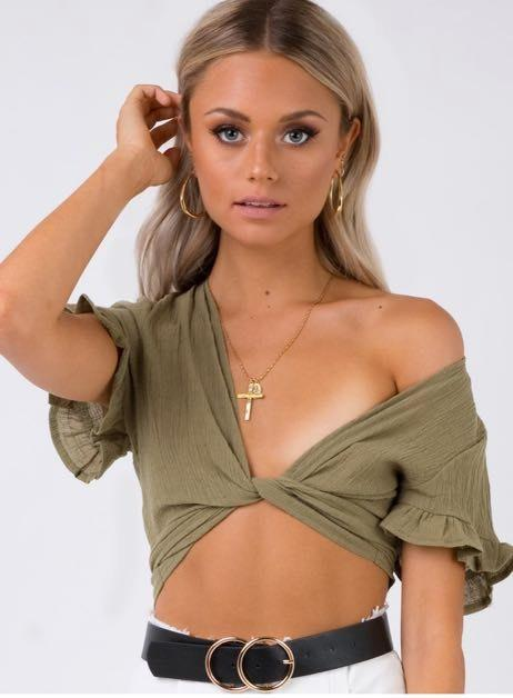 Princess Polly Army Green Tie Top