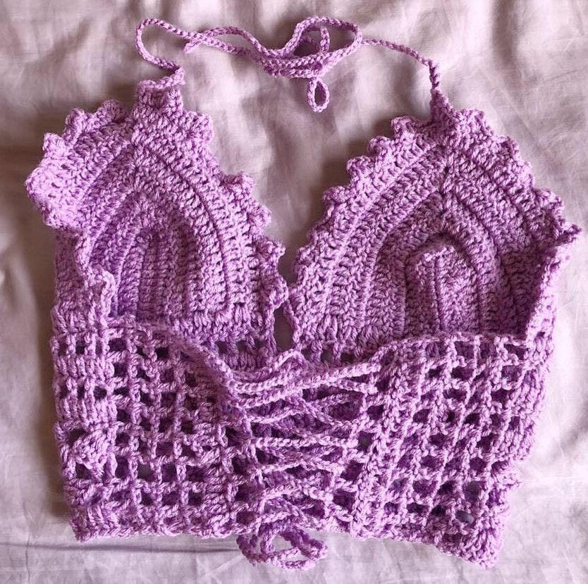 Handmade Crochet Bralette For Women All Size Purple
