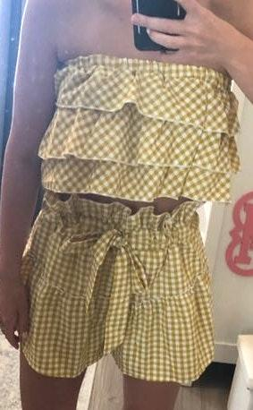 gold gingham two piece Set