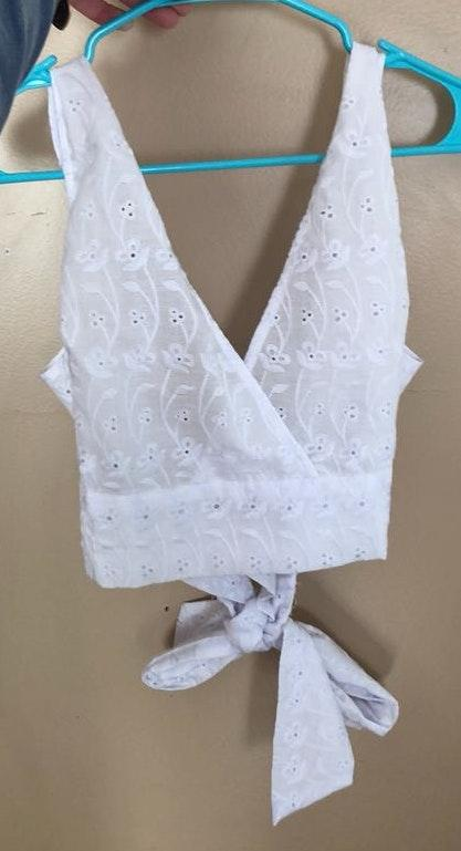 LA Hearts Lace Tie Crop Top