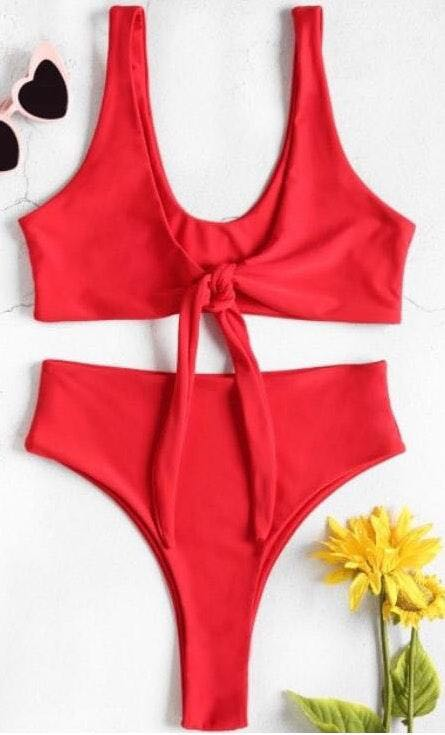 Zaful NEW Red High-Waist/Front-Tie Bikini