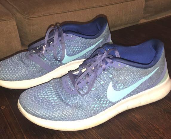buy popular b6aa2 8966c Nike Free Run Blue Tennis Shoes