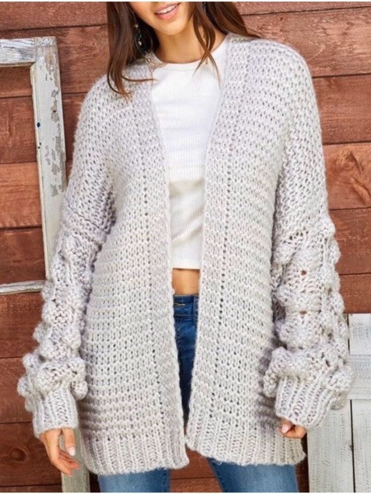 Puff Pom Pom Loose Fit Gray Cable Knit Cardigan