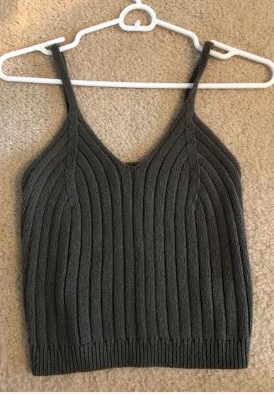 Kendall & Kylie Knit Green Crop Top