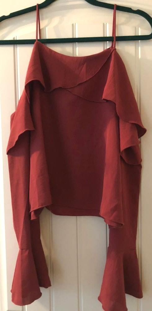 Etophe studios Rust Cold Shoulder Flare Sleeve Top