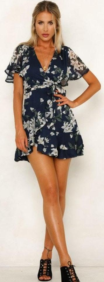 Hello Molly Navy Floral Wrap Ruffle Mini Dress
