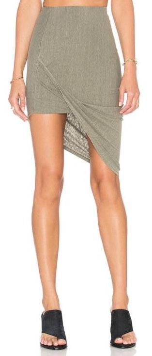 Pam & Gela Draped Skirt In Sage