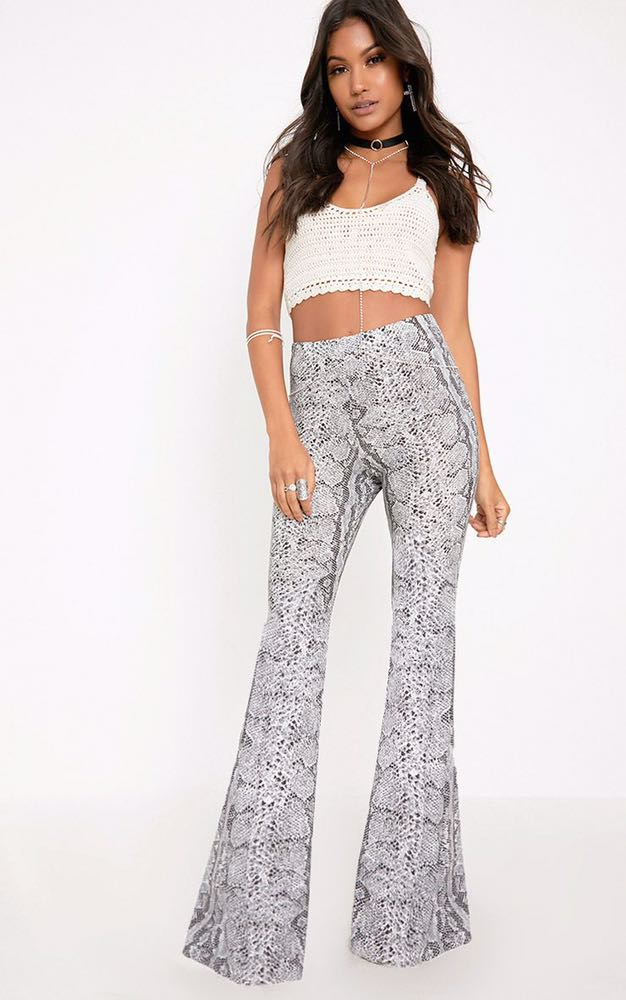 Pretty Little Thing Madilyn Snake Print Flared Trousers