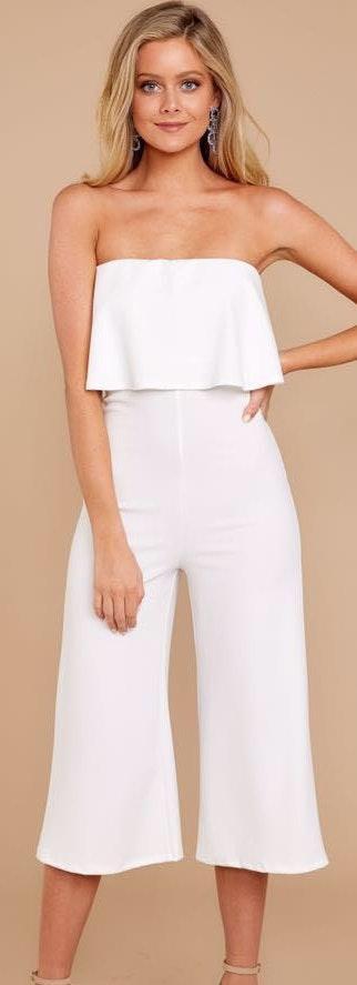 Blue Blush White Ruffle Crop Jumpsuit