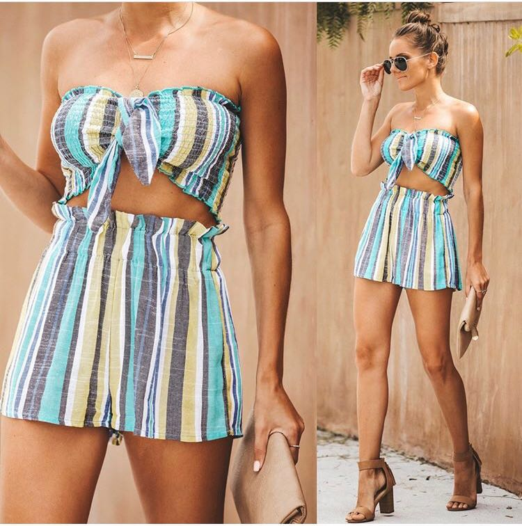 Skylar + Madison Stripe Two Piece Shorts Set