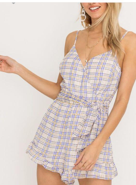 Lush Clothing Plaid Romper With Tie Sash Detail