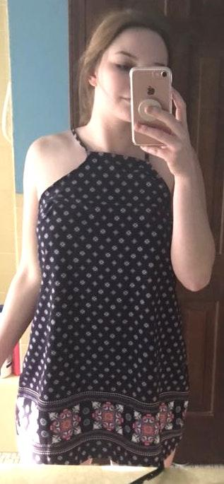 The Vintage Shop Navy Patterned Sun Dress