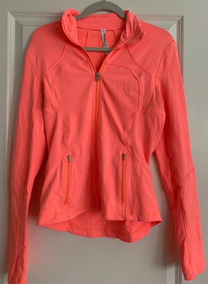 Lululemon Bright Orange Full zip Formed Fitting Jacket