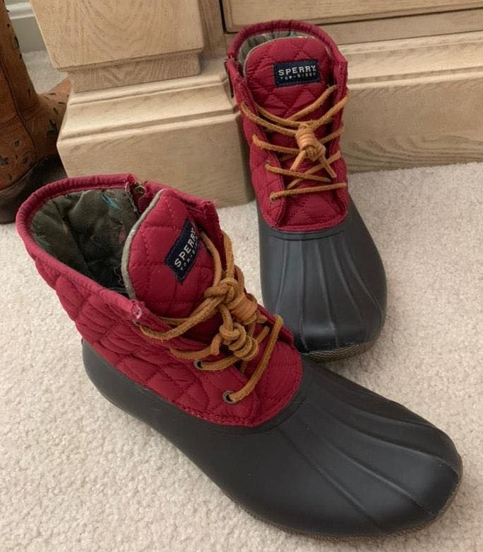 Sperry Maroon Top Sider Duck Boots
