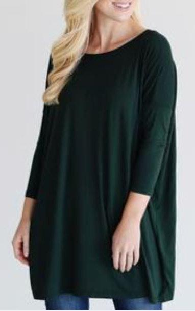 Piko Hunter Green  Tunic 3/4 Sleeve