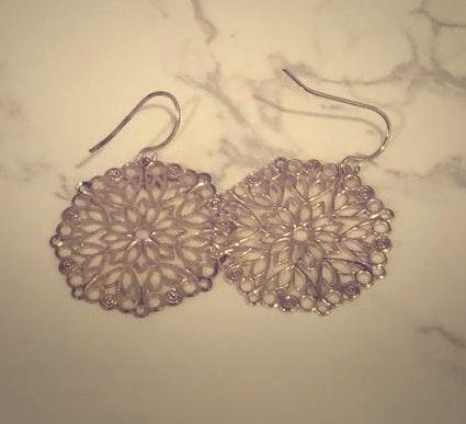 South Moon Under Silver Embroidered Earrings