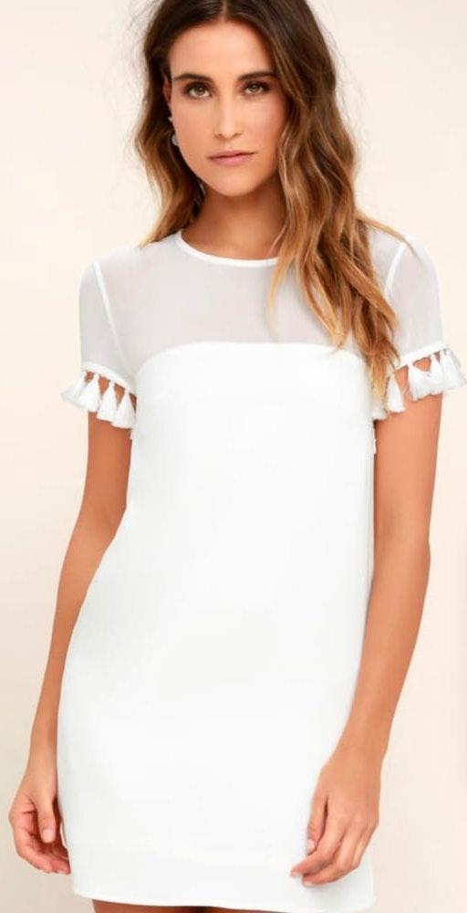 Lulus White dress with fringe sleeves