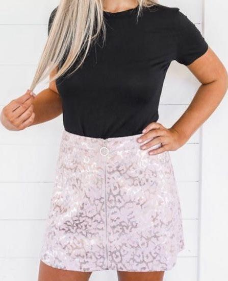 92af662084f These Three Boutique Cheetah Print Pink Skirt