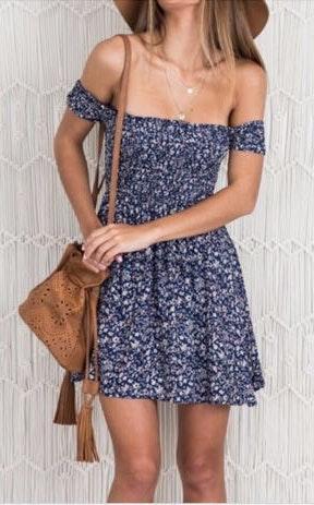 Brandy Melville Floral XS Off Shoulder dress