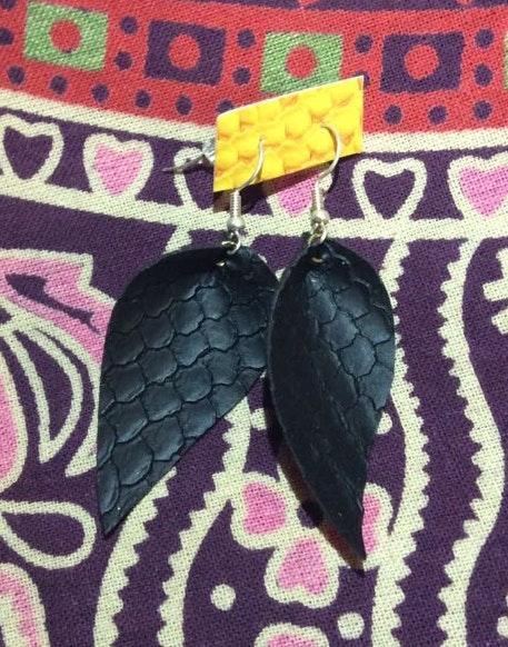 Handmade Black Leather Earrings