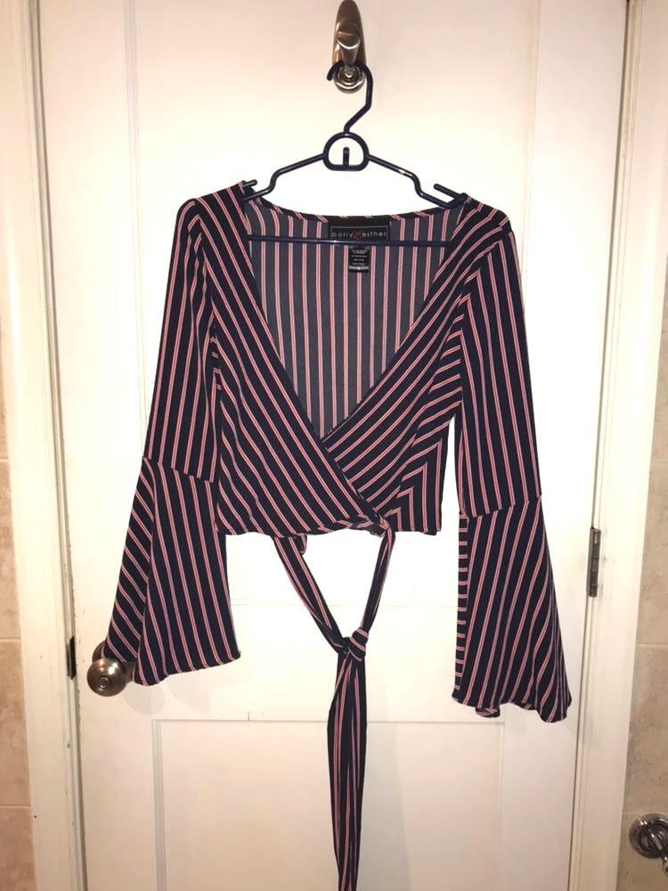 Polly & Esther Red & Blue Striped Tie Top