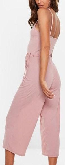 Missguided pink culotte ribbed jumpsuit