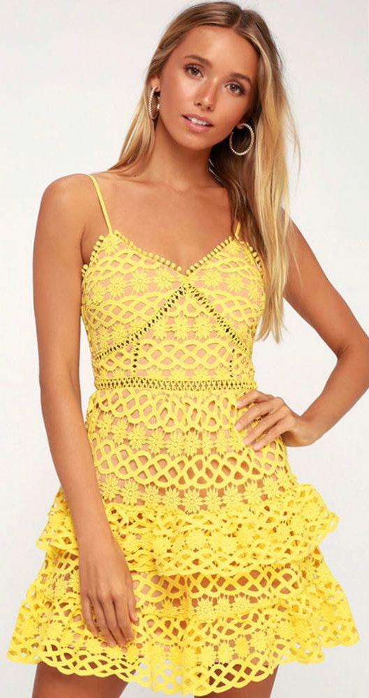 Lulus Yellow Crochet Dress