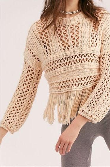 Free People Knit Fringe Sweater