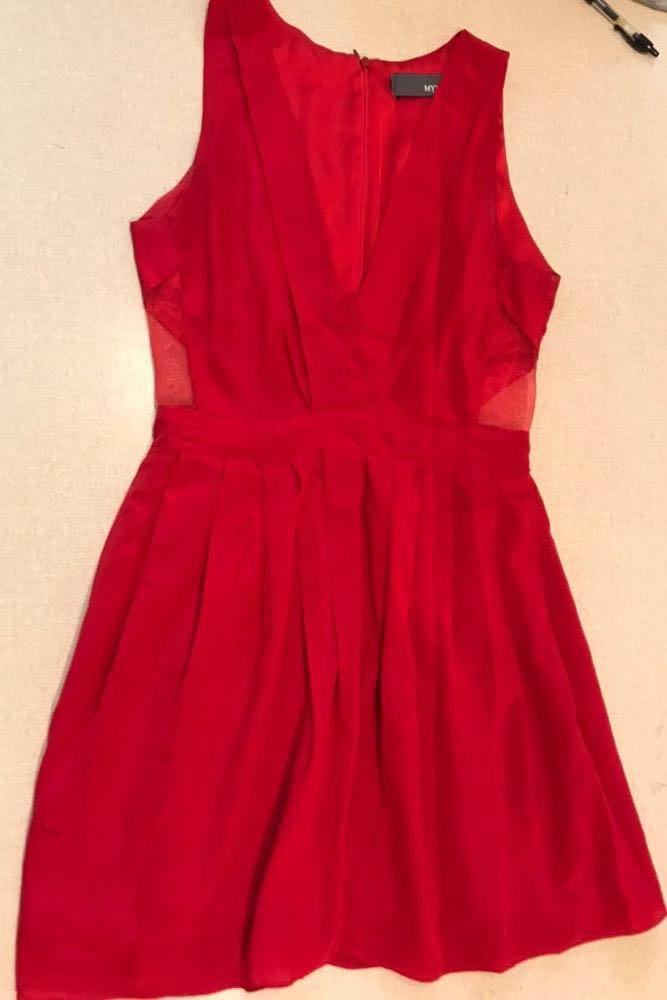 Myne 100% Red Silk Cutout Cocktail Dress