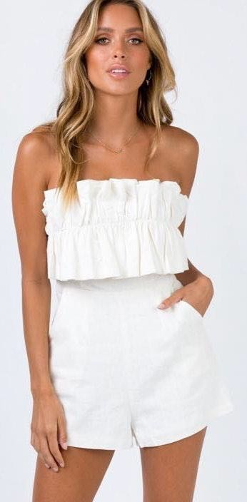 Princess Polly Ruffle Strapless Playsuit
