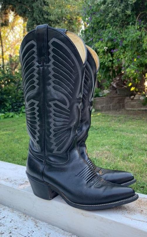 Texas Vintage  Black Leather Boot Coachella