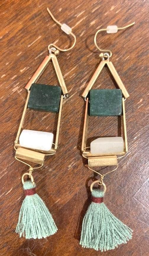 Anthropologie Green Tassle Earrings