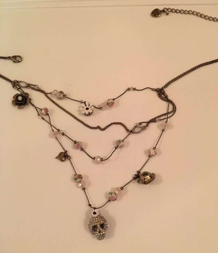 Betsey Johnson flower 4 Chain Necklace