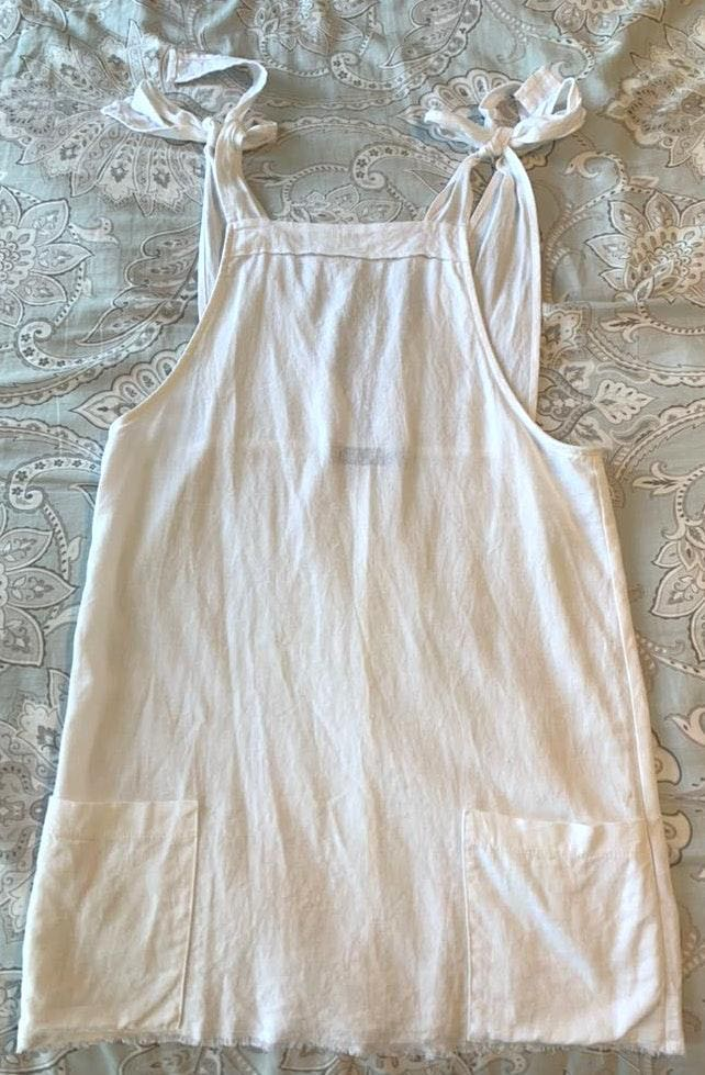 Blue Blush White linen overall dress