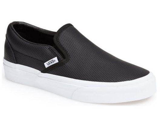 Vans black slip on  leather
