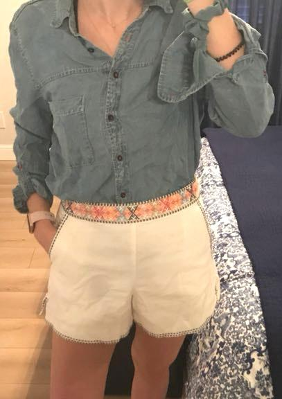 Gap White Embroidered Shorts