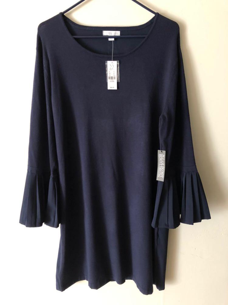 New York & Co. New Pleated Balloon Sleeve Dress