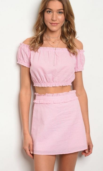 Wild Honey Pink Gingham Top And Skirt Set