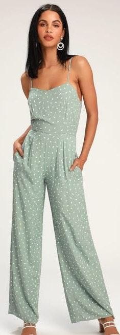 Lulus Jumpsuit Green With White Dotted Detail