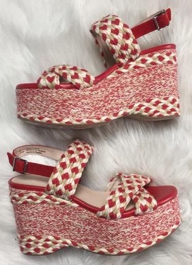 Free People Red Woven Espadrille Sandals