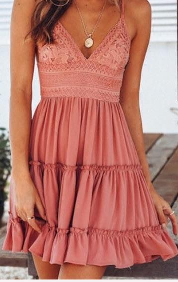 Sweet Threads V- Neck Sleeveless Flowy Mini Dress Blush