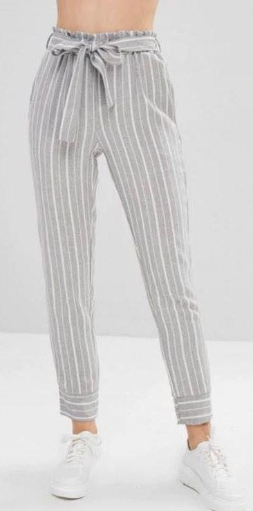 Zaful Belted Striped High Waisted Pants