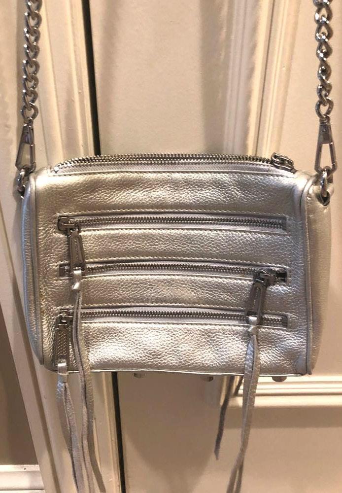 Rebecca Minkoff silver zipper purse