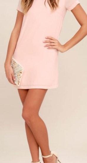 Lulus Light Pink Shift Dress W Gold Back Zipper