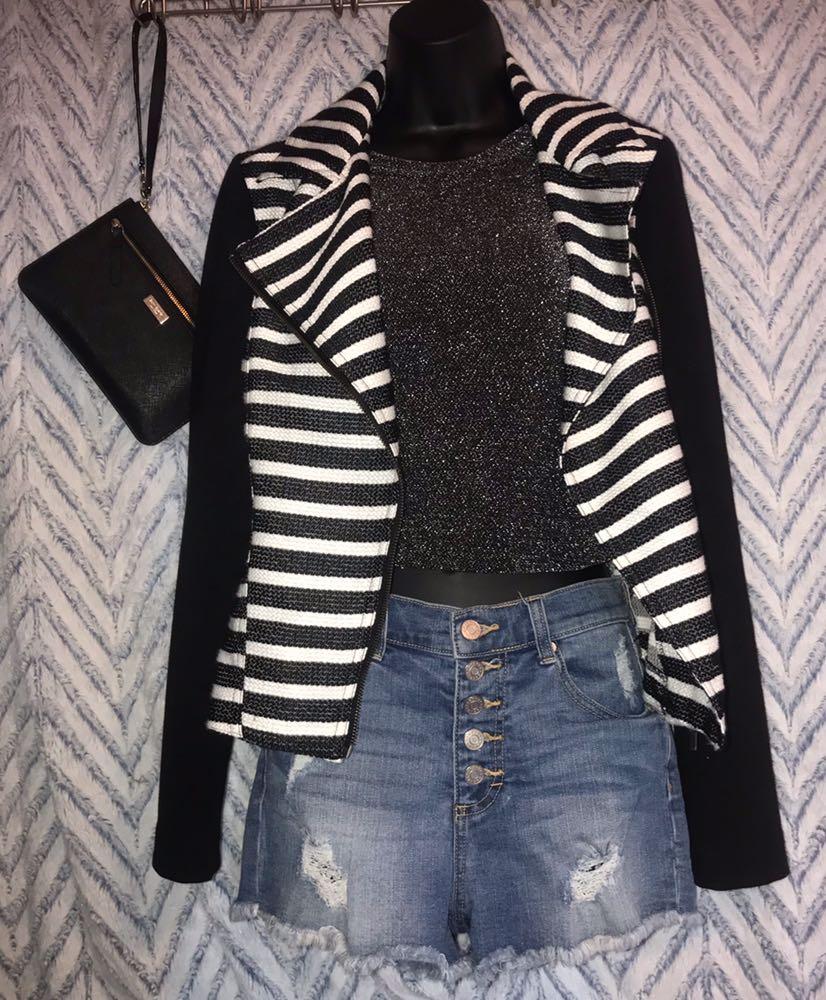 Maurice's Black & White Striped Jacket