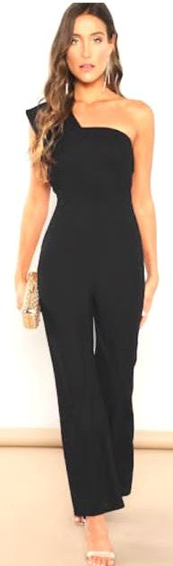 SheIn Black One-Shouldered Jumpsuit