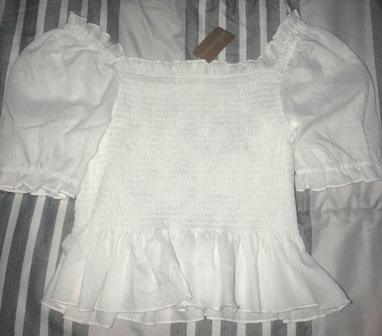 Vestique White Off The Shoulder Shirt