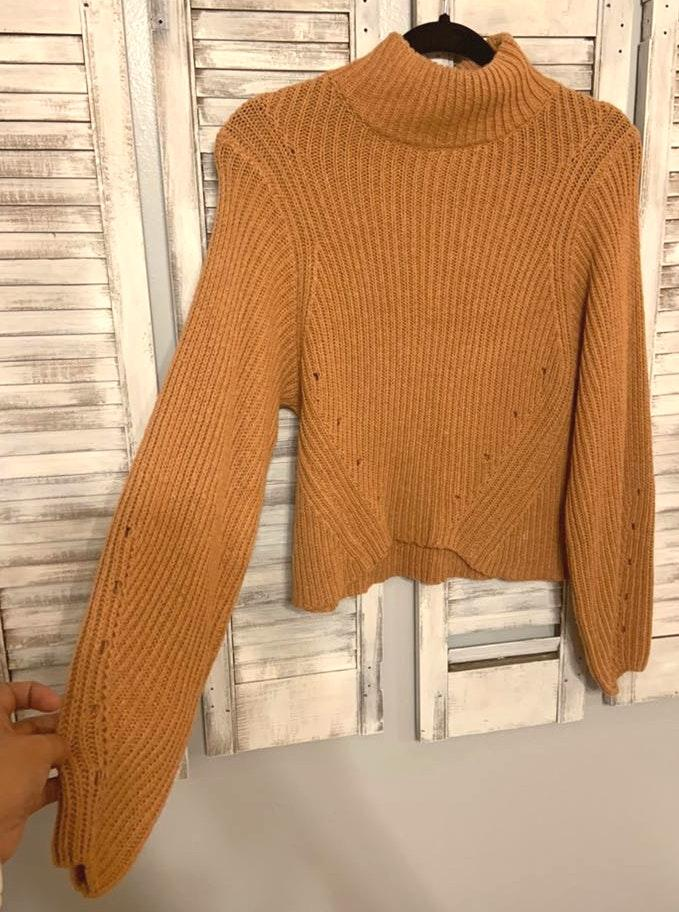 Burnt Orange Turtle Neck Cropped Sweater